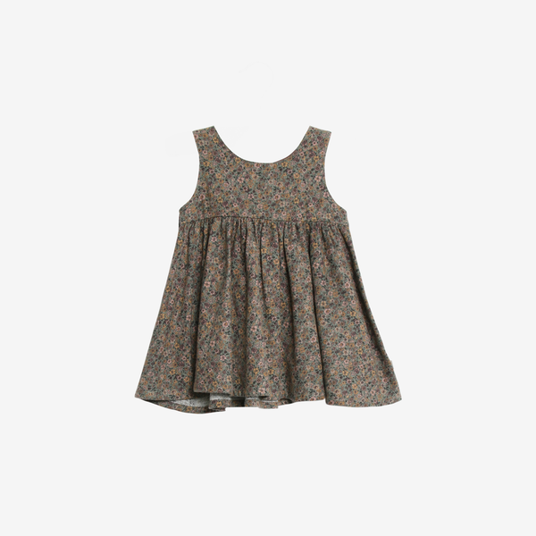Organic Cotton Flannel Pinafore - Green Flowers
