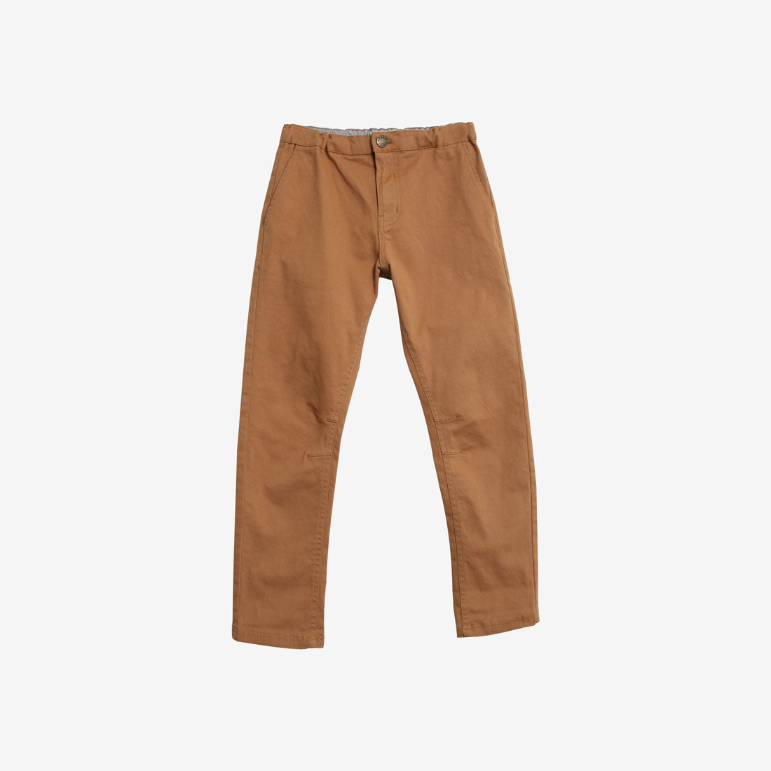 Orla Organic Woven Stretch Slim Trousers - Dark Camel