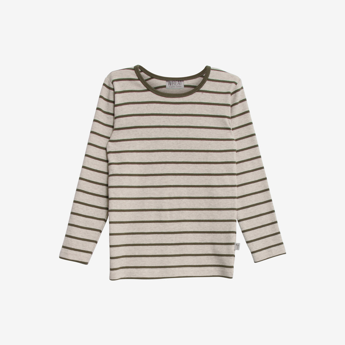 Stripes Organic L/S Tee - Army/Ecru