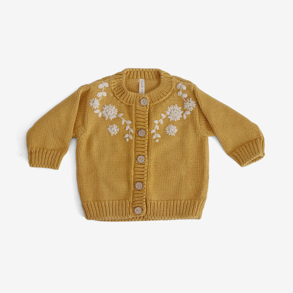 Amelia Embroidered Cardi - Mustard