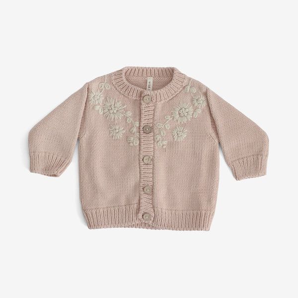Amelia Embroidered Cardi - Rose