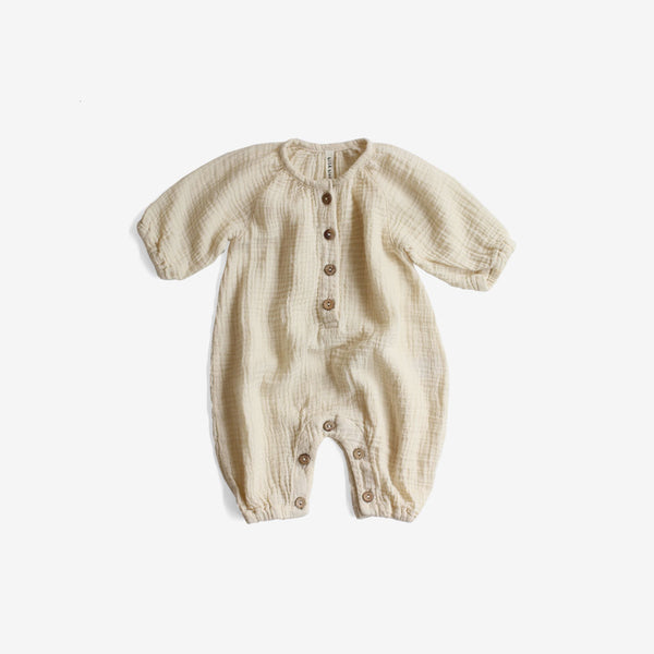 Double Gauze Bubble Jumpsuit - Oatmeal