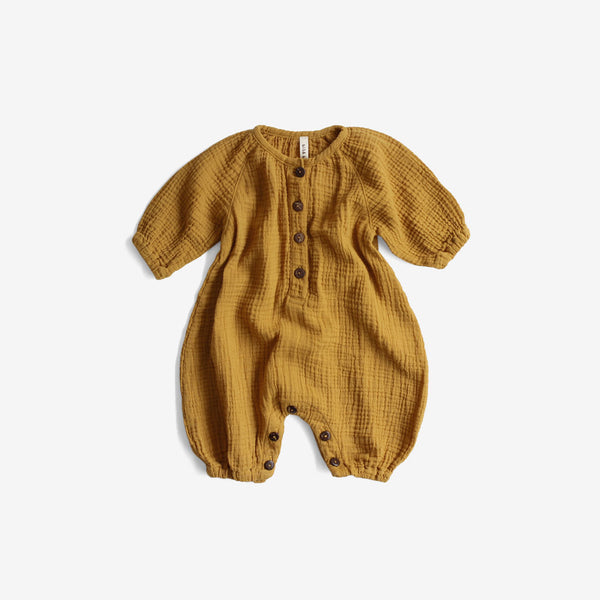 Double Gauze Bubble Jumpsuit - Mustard