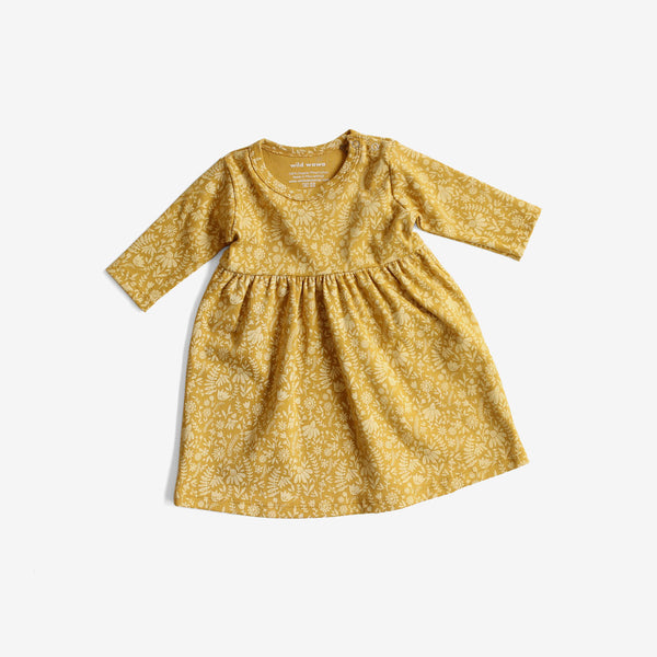 Ella Organic Dress - Goldenrod Floral