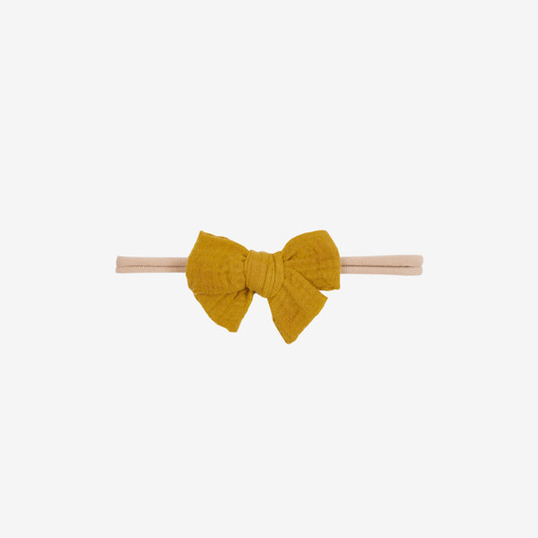 Pima Cotton Gauze Baby Bow Headband - Mustard