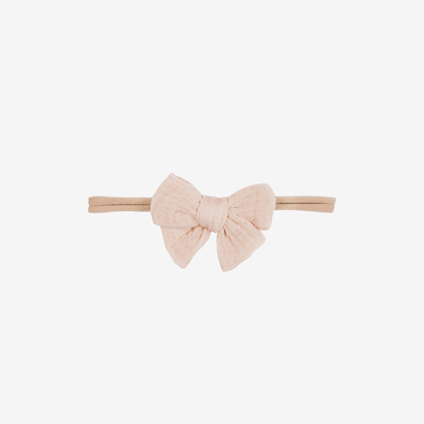 Pima Cotton Gauze Baby Bow Headband - Soft Pink