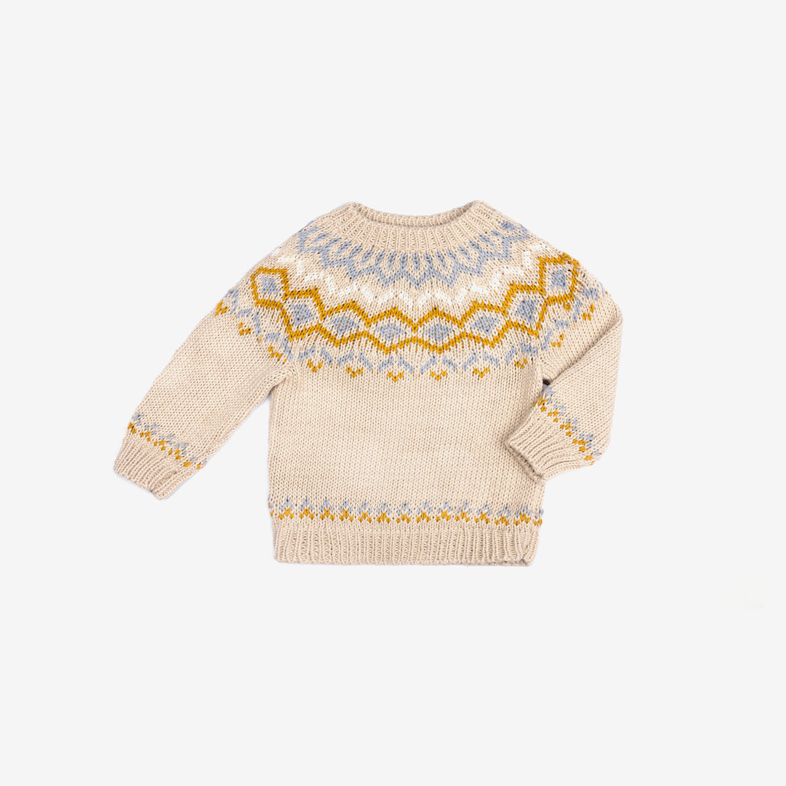 Sebastian Pima Cotton Knit Fair Isle Sweater