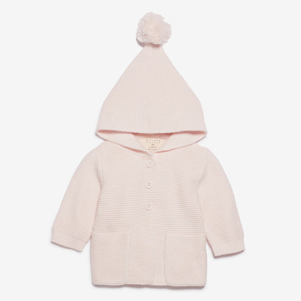 PomPom Hooded Baby Jacket - Pale Pink