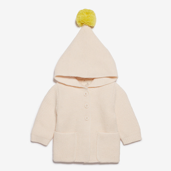 PomPom Hooded Baby Jacket - Oat