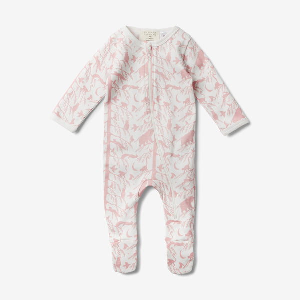 Zippy Organic Footed Romper - Adventure Pink