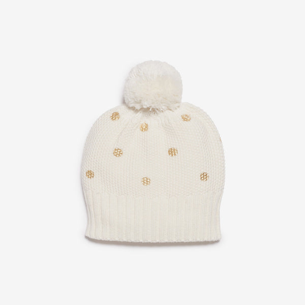 PomPom Baby Hat - Gold Dot