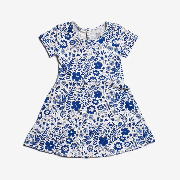 Casablanca Organic Dress - blue wildflowers