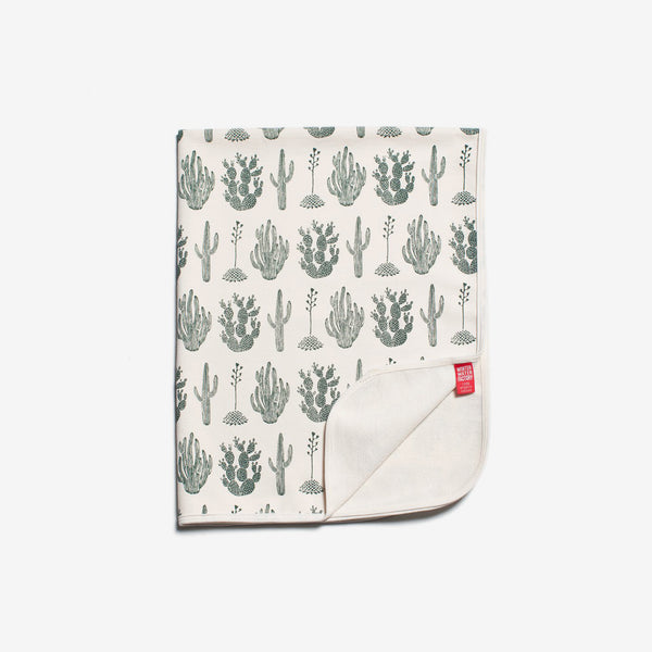 French Terry Organic Baby Blanket - Green Cactus