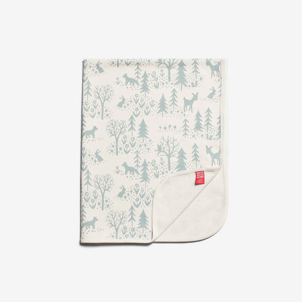 French Terry Organic Baby Blanket - Winter Scenic