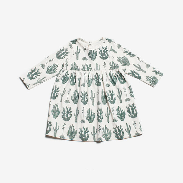 Geneva Organic Baby Dress - Green Cactus