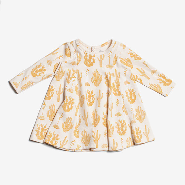 Mia Organic Baby Dress - Gold Cactus