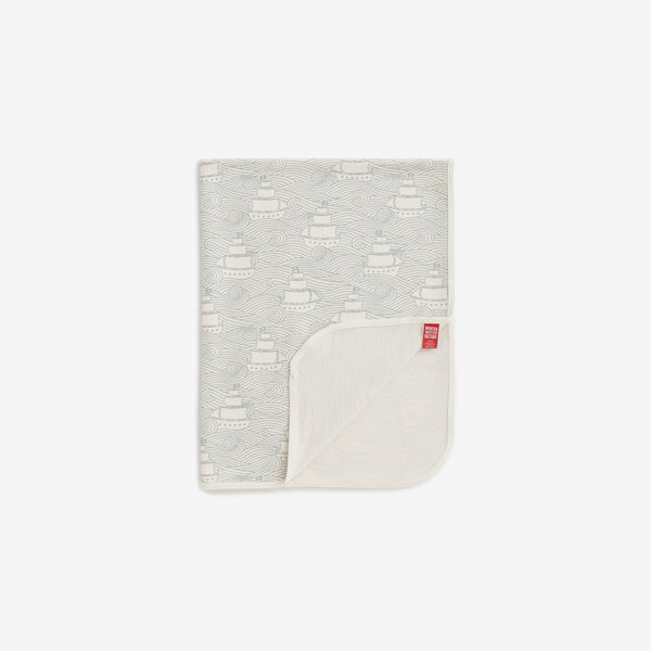 Organic French Terry Baby Blanket - High Seas Pale Blue