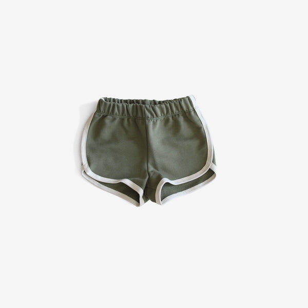 Organic French Terry Track Shorts - Forest Green