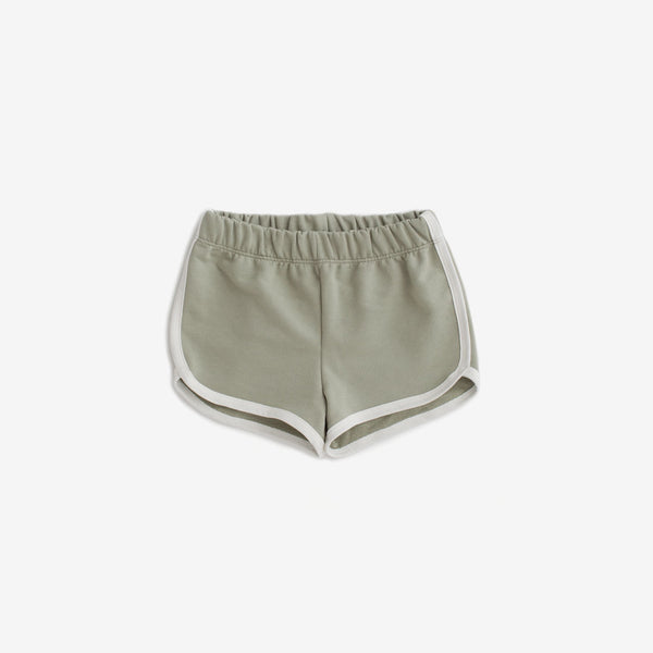 Organic French Terry Track Shorts - Sage