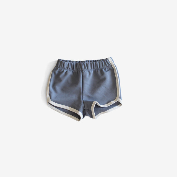 Organic French Terry Track Shorts - Slate Blue