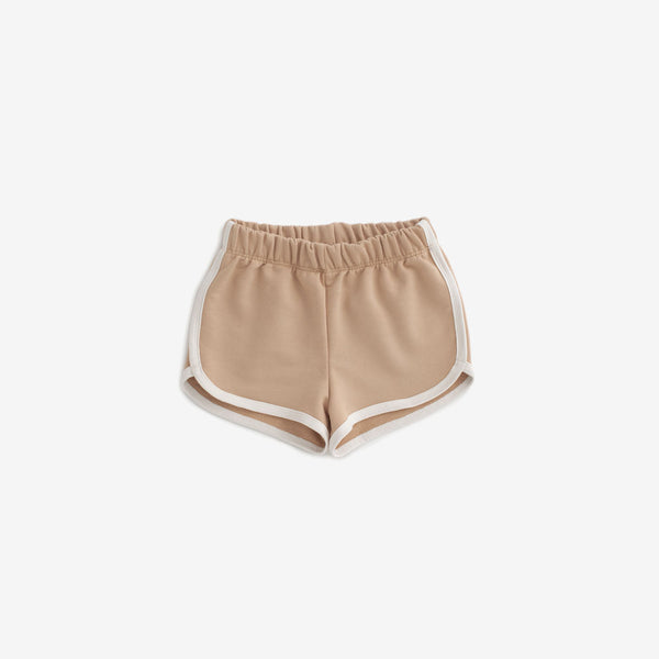 Organic French Terry Track Shorts - Camel