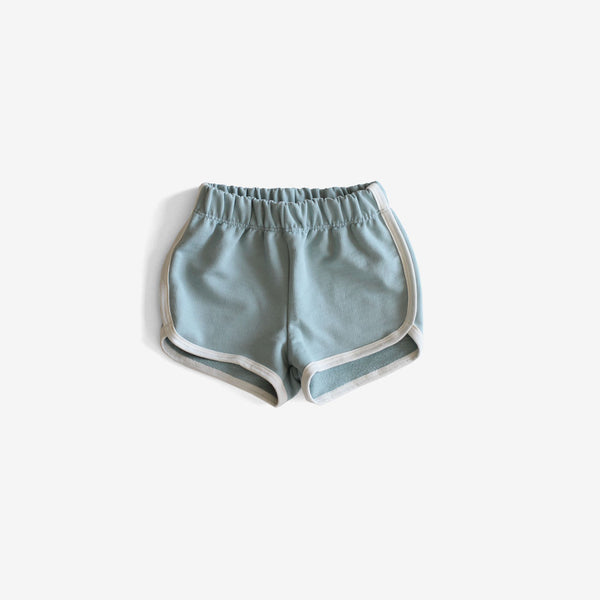 Organic French Terry Track Shorts - Surf Blue