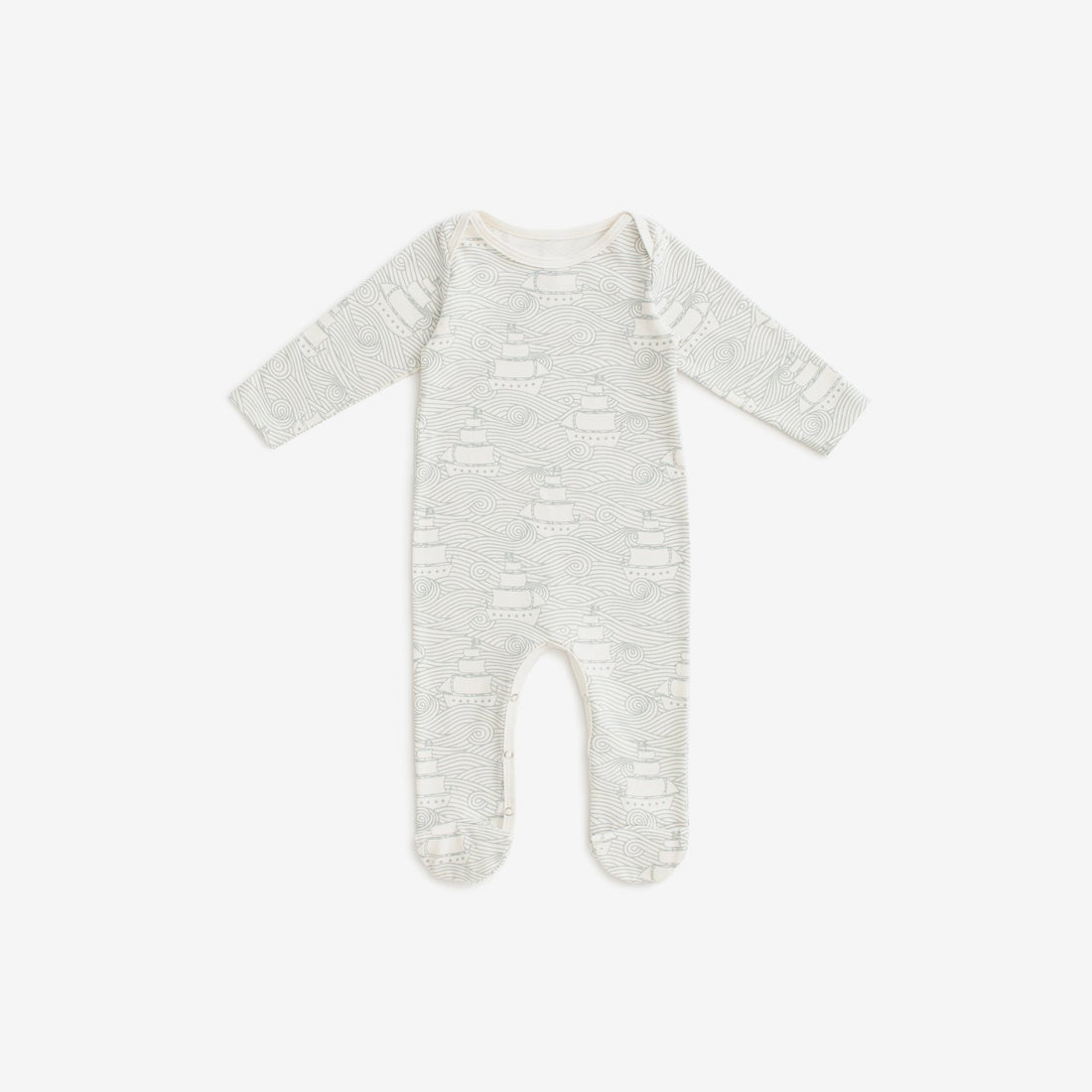 Organic Jersey Footed Romper - High Seas Pale Blue