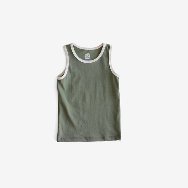 Organic Jersey Retro Tank - Forest Green