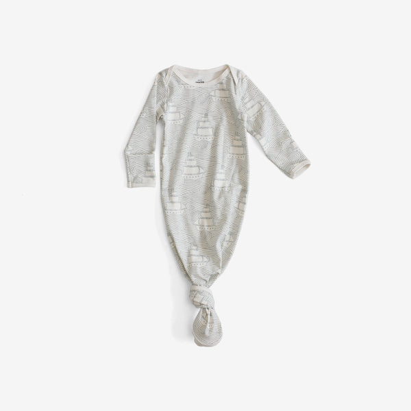 Organic Jersey Knotted Baby Gown - High Seas Pale Blue