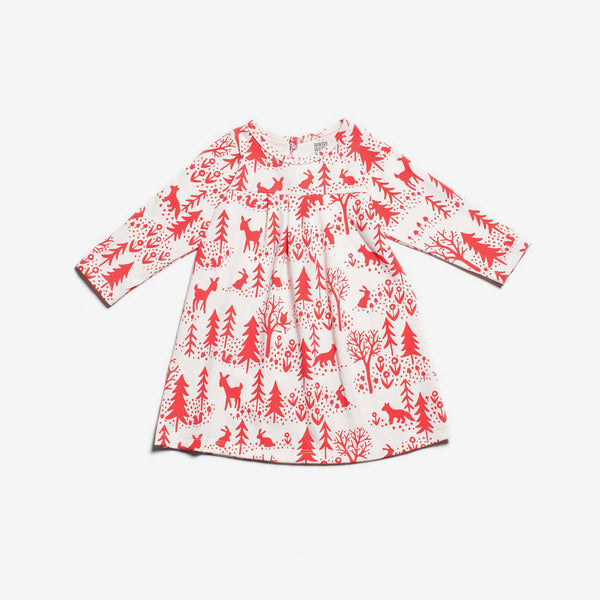 Toronto Organic Baby Dress - Winter Scenic Red