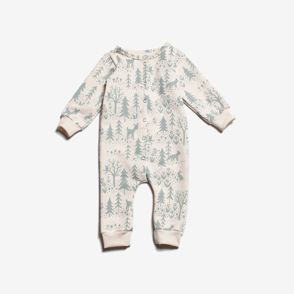 Winter Scenic Organic French Terry Jumpsuit - Pale Blue