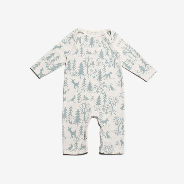 Winter Scenic Organic Romper - Powder Blue