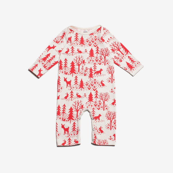 Winter Scenic Organic Romper - Red