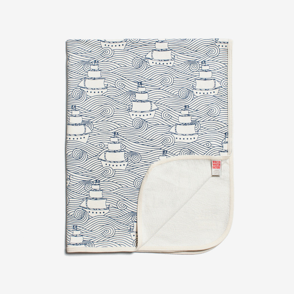 French Terry Organic Baby Blanket - Navy High Seas