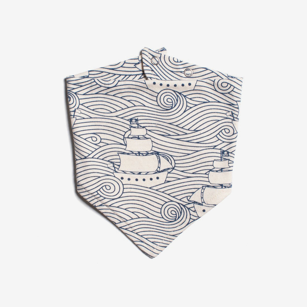 Organic Kerchief Bib - Navy High Seas