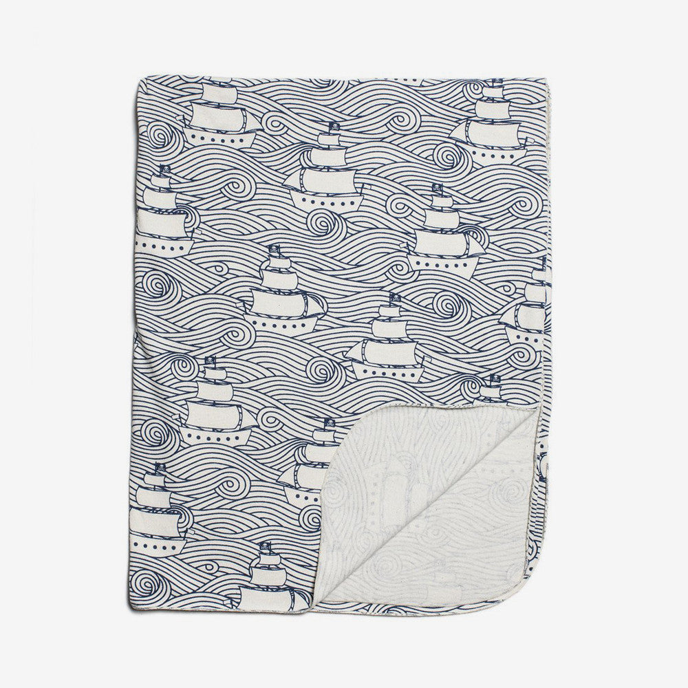 Lightweight Organic Baby Blanket - Navy High Seas