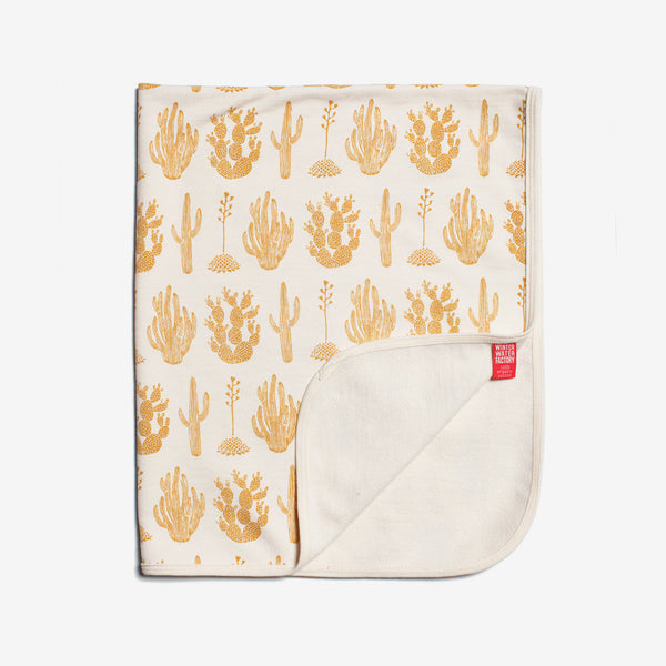 Organic French Terry Baby Blanket - Gold Cactus
