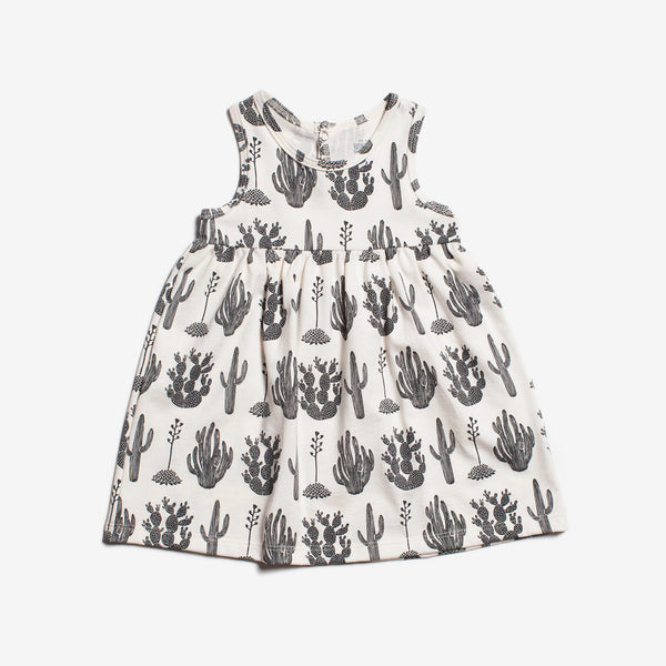 Oslo Organic Baby Dress - Black Cactus