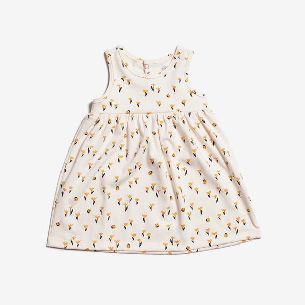 Oslo Organic Baby Dress - Yellow Tulip
