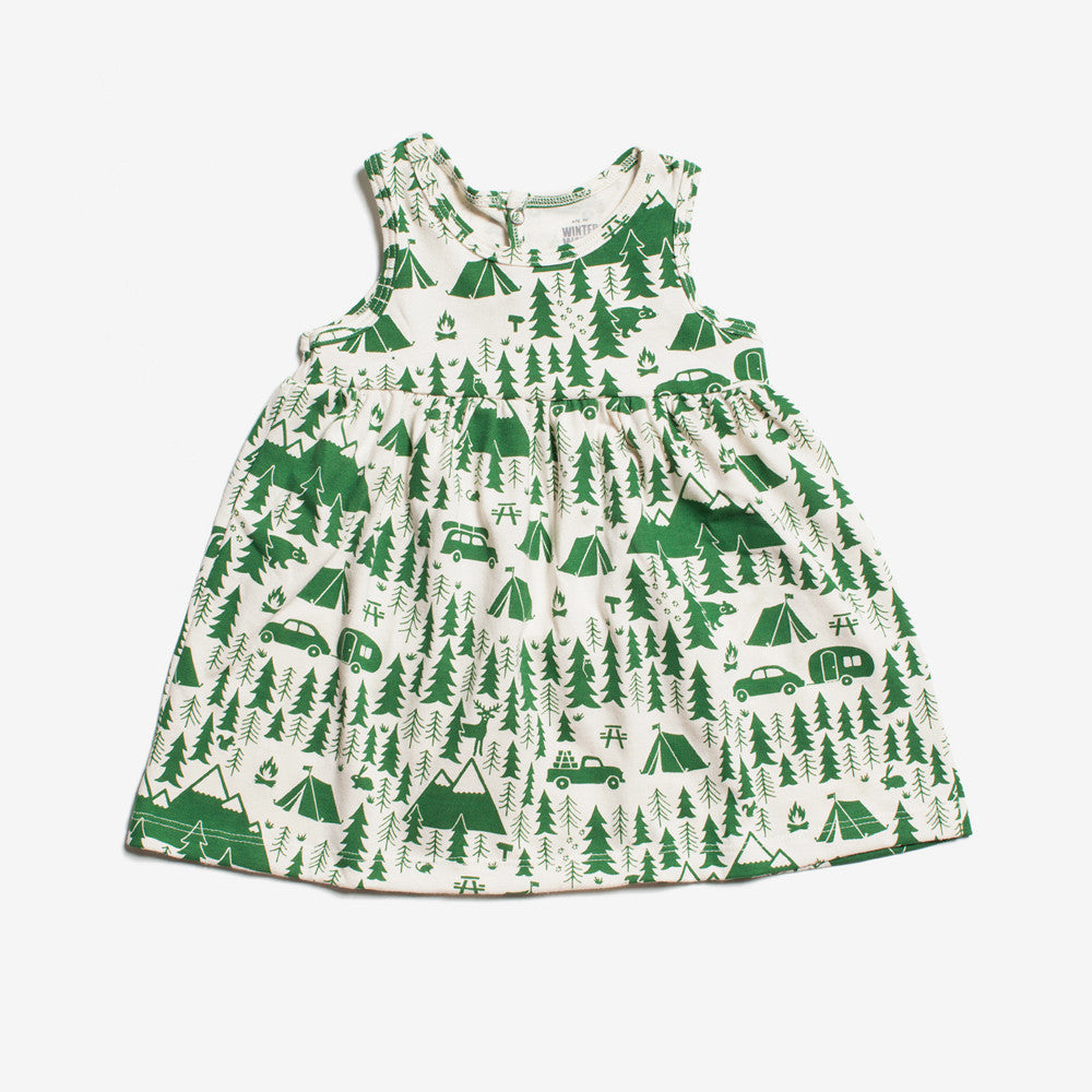 Oslo Baby Dress - Green Campground