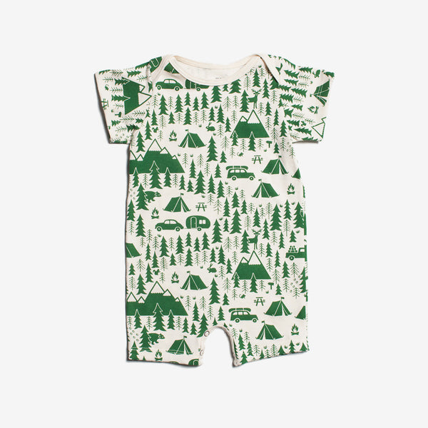 Campground Organic Summer Romper - green