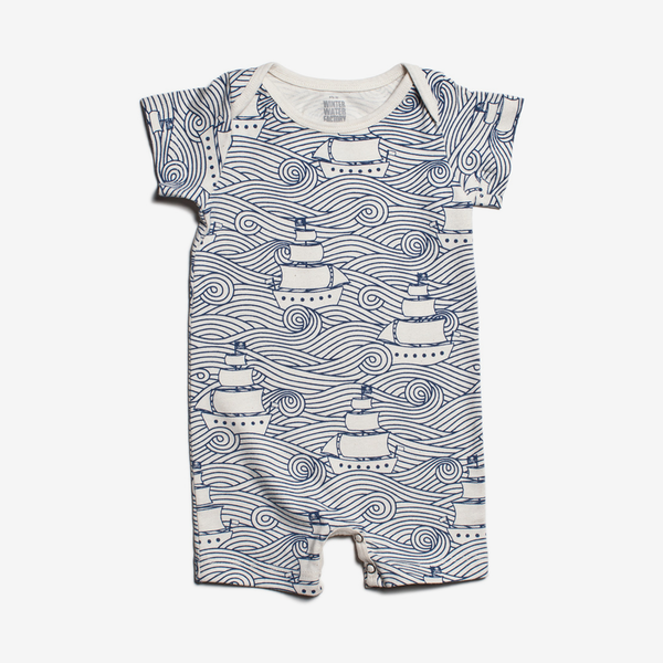 Organic Summer Romper - High Seas