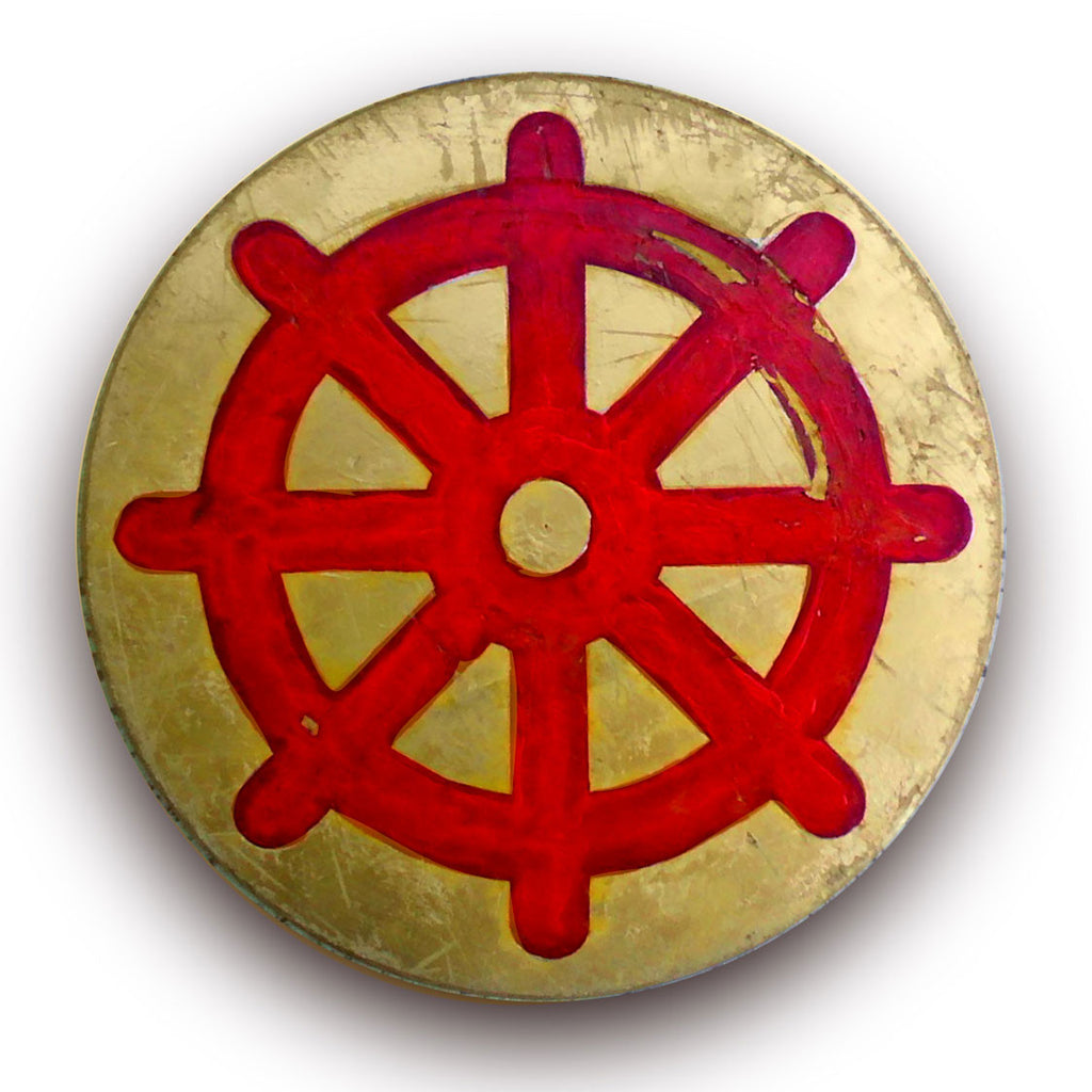 "Distressed Wood Panel Dharma Wheel - 18"" diameter"