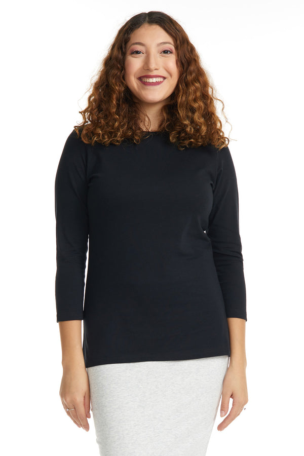 Esteez ¾ Sleeve Cotton Spandex RELAXED FIT Layering Shirt for WOMEN - BLACK