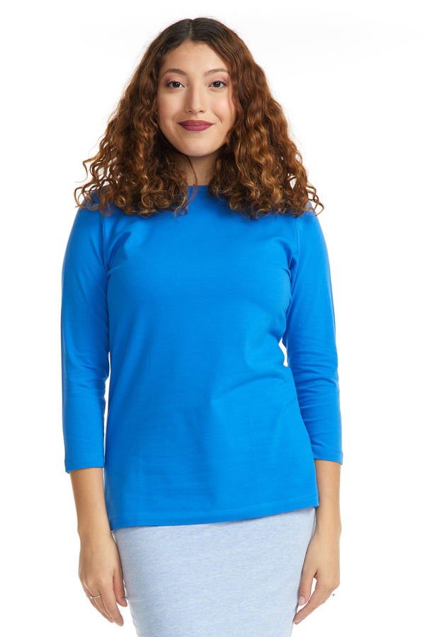 Esteez ¾ Sleeve Cotton Spandex RELAXED FIT Layering Shirt for WOMEN - BLUE