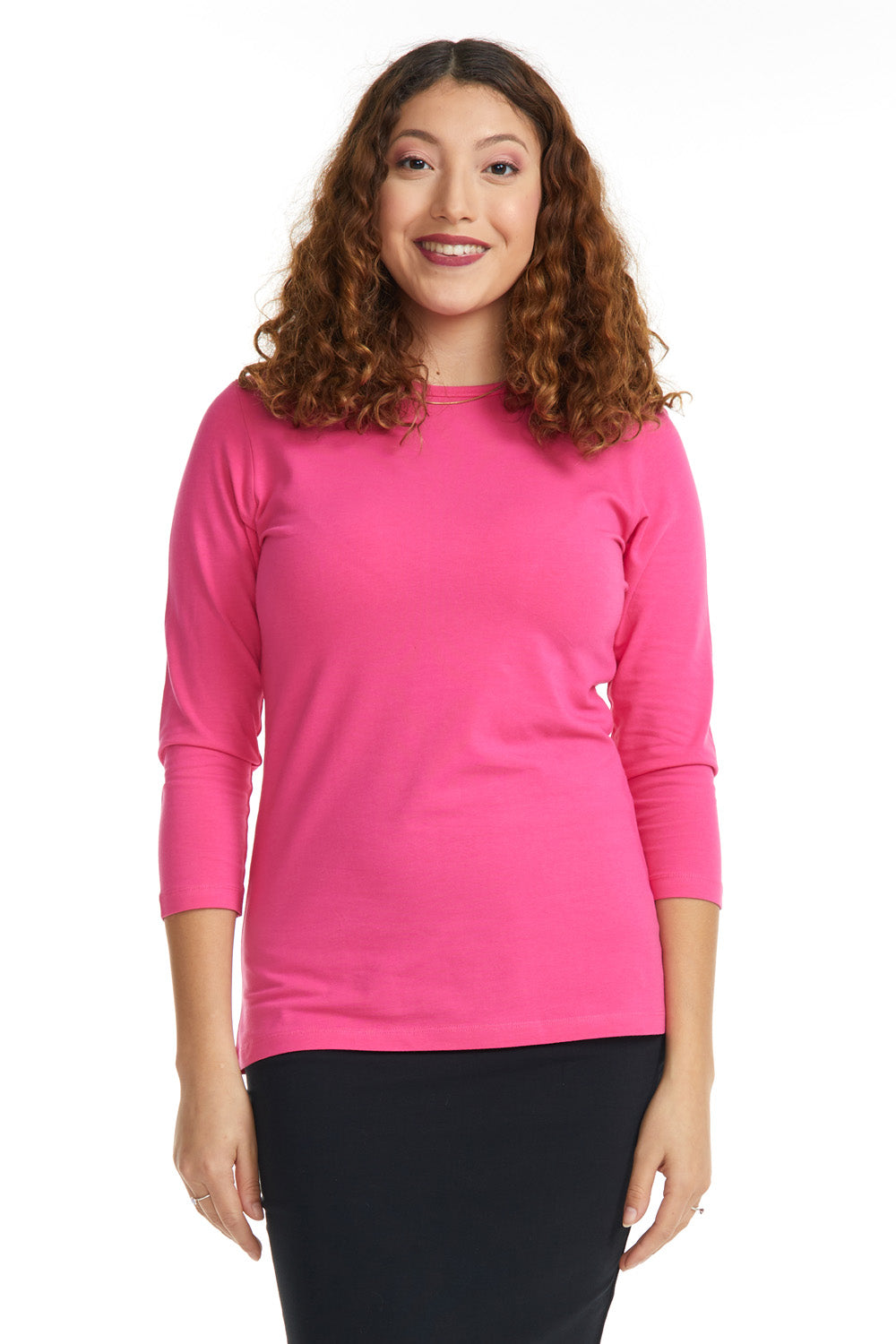 Esteez ¾ Sleeve Cotton Spandex RELAXED FIT Layering Shirt for WOMEN - MAGENTA