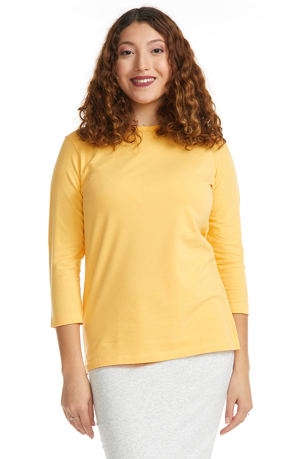 Esteez ¾ Sleeve Cotton Spandex RELAXED FIT Layering Shirt for WOMEN - MANGO