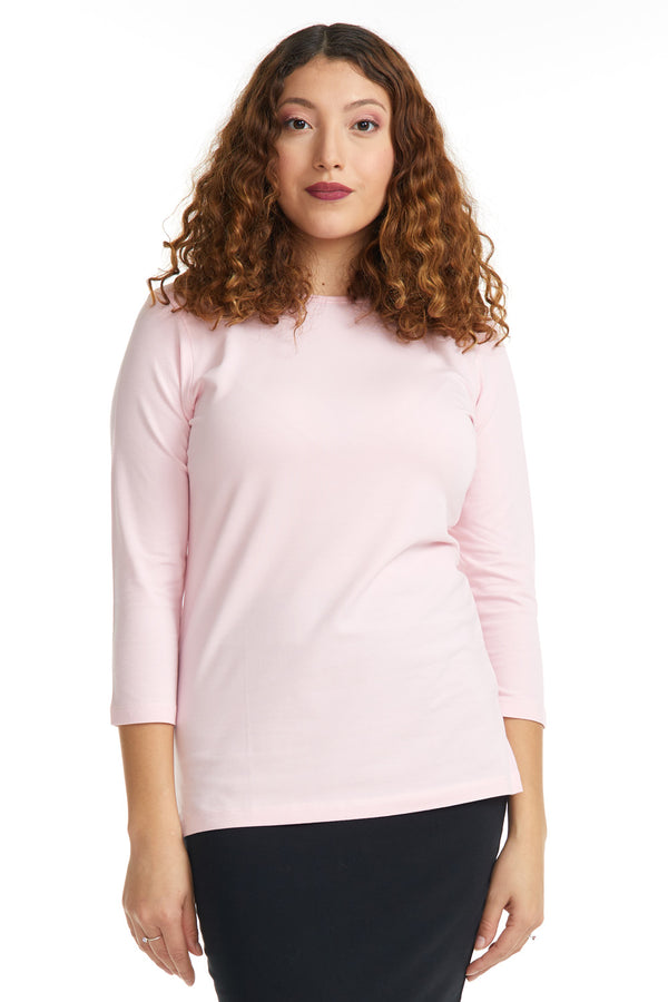 Esteez ¾ Sleeve Cotton Spandex RELAXED FIT Layering Shirt for WOMEN - HOT PINK