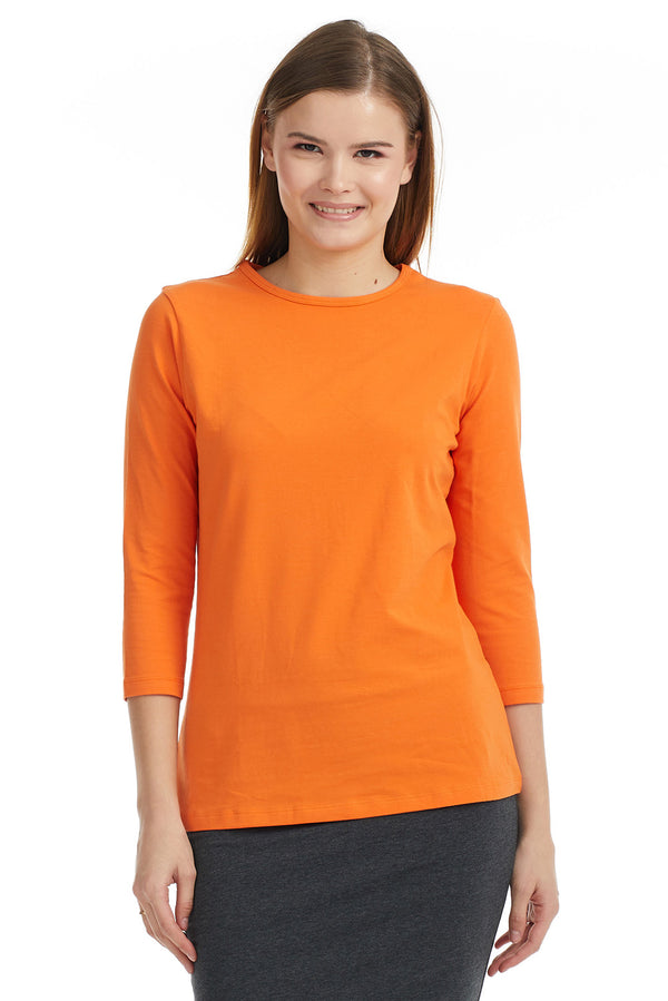 Esteez ¾ Sleeve Cotton Spandex RELAXED FIT Layering Shirt for WOMEN - PUMPKIN