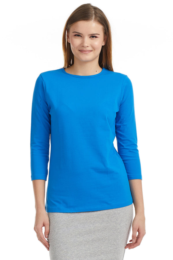 Esteez ¾ Sleeve Cotton Spandex RELAXED FIT Layering Shirt for WOMEN - ROYAL